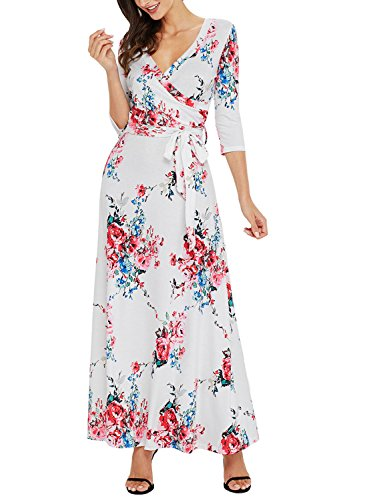 AlvaQ Women Summer Elegant 3 4 Long Sleeve Wrap V Neck Floral Maternity Long Maxi Dress Plus Size White XX-Large