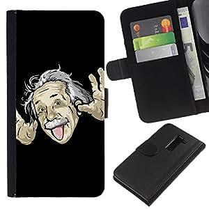 Ihec-Tech / Flip PU Cuero Cover Case para LG G2 D800 D802 D802TA D803 VS980 LS980 - Funny Einsten Tongue Face