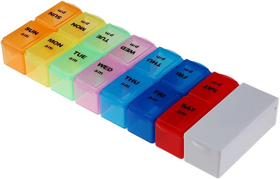 domybest desmontable píldora Organizador Caja una semana AM PM recordatorio de medicación con divisor cortador
