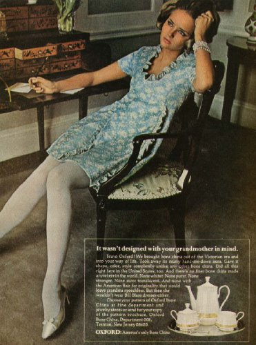 Oxford Bone China - Cheryl Tiegs for Oxford Bone China ad 1968