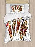 Queen Duvet Cover Set by Ambesonne, Queens Poker Set Faces Hearts and Spades Gambling Theme Symbols Playing Cards, 2 Piece Bedding Set with 1 Pillow Sham, Twin / Twin XL Size, Black Red Yellow