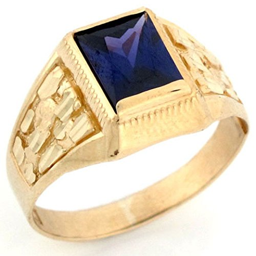 Jewelry Liquidation 10k Gold Simulated Amethyst February Birthstone Diamond Cut Nugget Ring