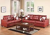 Poundex Bobkona Sherman Bonded Leather 2-Piece Sofa and Loveseat Set, Burgundy