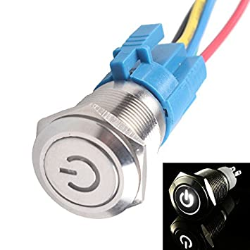 51xg6E58vgL._SY355_ e support™ 16mm 12v 3a car white light power symbol metal push  at edmiracle.co