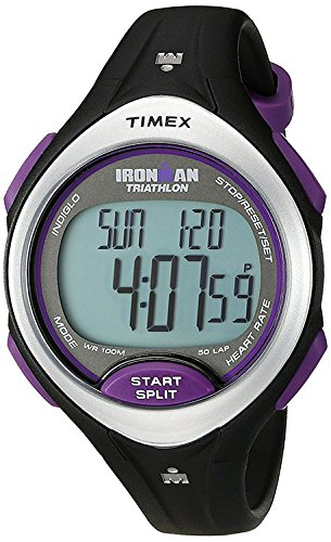 Timex Women's T5K723 Ironman Road Trainer Heart Rate Monitor Black/Silver-Tone/Purple Resin Strap Watch (Zone Trainer Timex)