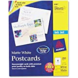 "Avery 8387 Inkjet Postcard,Perforated,5-1/2""x4-1/4"",200/BX,Matte,WE"