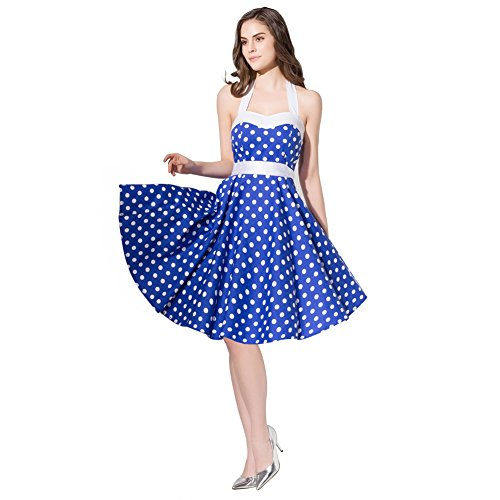 Blue Halter (FiftiesChic Colored Halter 100% Cotton Polka Dot 50s Vintage Rockabilly Swing Dress (XXL (US10-12), Blue White))