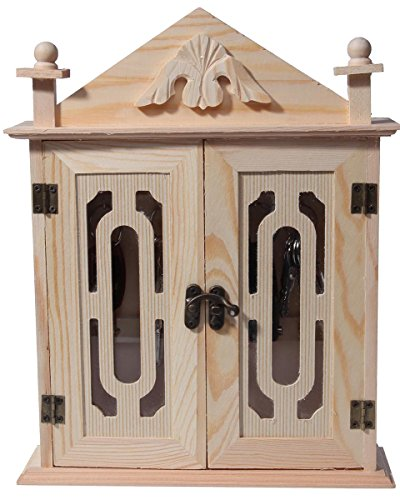 Key Organizer / Key Cabinet - Natural Wood Key Storage Cabinet - 11 Inches (Doors Wood With Small Storage Cabinets)