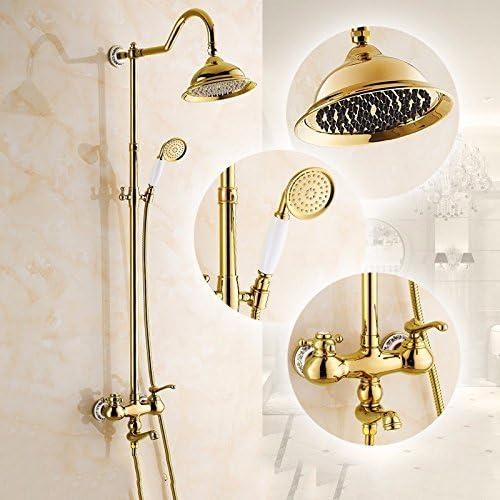 ヨーロッパ風銅メッキゴールドアンティークシャワーシャワーセットバスルームホット&コールドシャワーの蛇口