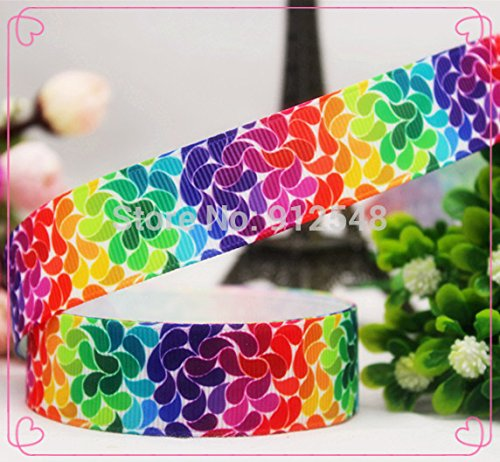 FunnyCraft 10 Yards 22Mm Cartoon Rainbow Colors Series Printed Grosgrain Ribbon Diy Handmade Materials Wedding Gift Wrap