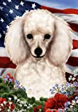 Poodle Dog Breed Patriotic House Flag 28 x 40 Inches White