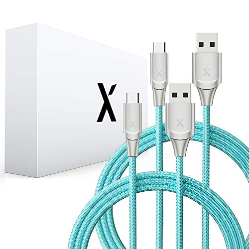 Xcentz 2 Pack USB Type C Cable 6ft, USB C to USB A Fast Charging Cable, Premium Nylon Braided Charger Cord for Samsung Galaxy Note 8/9, S8/S8 Plus, S9/S9 Plus, LG V20/V30, G5/G6/G7, HTC 10, Pixel XL