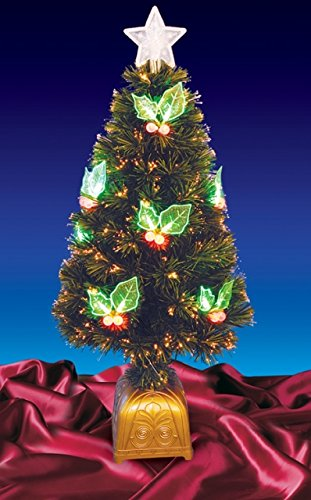 Northlight Pre-Lit LED Color Changing Fiber Optic Christmas Tree with Holly Berries, - Led Pre Lit Color