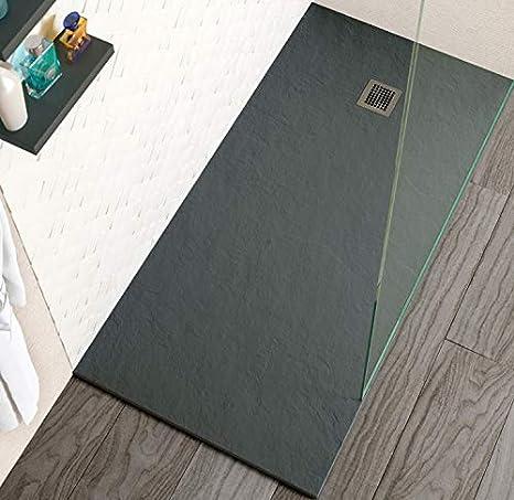 Plato de ducha Stone Coat - Carga Mineral con Resina recubierto de Gel Coat Válvula y Rejilla incluido. (70 x 120 cm, Gris Antracita): Amazon.es: Bricolaje y herramientas