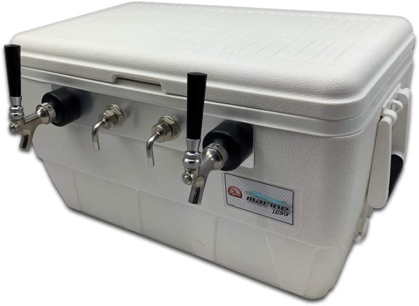 Coldbreak Jockey Box, 2 Taps, Marine Bartender Edition, 48 Quart Marine Grade Cooler, 50' Coils, Stainless Steel Shanks, Includes Stainless Faucets