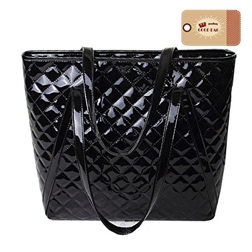 Goodbag Boutique Women Lattice Geometric Pattern Tote Handbag Faux Patent Leather Shoulder Bag (Boutique Purse Bag)