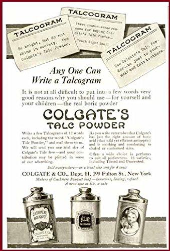 Great Advertising TINS in 1916 Colgate TALCUM Powder AD Original Paper Ephemera Authentic Vintage Print Magazine Ad/Article
