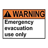 Ansi Warning Emergency Evacuation Use Only White Metal Sign Aluminum Signs 8X12 Inch