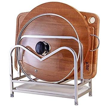 Rosa FEIGO Organizador de sartenes y tapaderas montado en la Pared Soporte de pl/ástico con 2 Compartimentos para sartenes y Tapas de ollas Organizador de cajones y armarios de coci