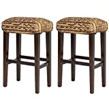 LTL Shop Set of 2 Hand Woven Seagrass Bar Stools Mahogany Wood Frame Bar Height