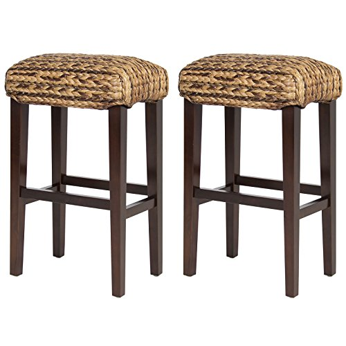 LTL Shop Set of 2 Hand Woven Seagrass Bar Stools Mahogany Wood Frame Bar Height (Fl Destin One Pier)