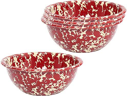 (Enamelware Cereal Bowl, 6.25 inch, Burgundy/White Splatter (4))