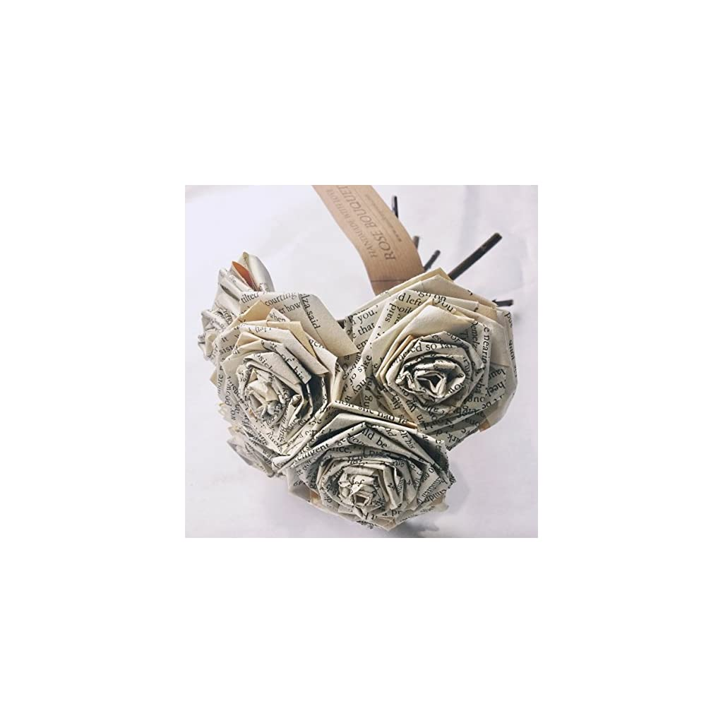 Book-Paper-Rose-Bouquet-Novel-Flowers-Literary-Vintage-Home-Dcor-Christmas-Anniversary-Valentines-Day-Gift-For-Wife-Fiance-Book-Lover-Wedding-Paper-Flower-Bouquets-Handmade-Bunch-of-5-6