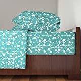 Roostery Arrows 4pc Sheet Set Arrows Scattered//Aqua Tribal Southwest Design In Aqua Teal Blue by Andrea Lauren Queen Sheet Set made with
