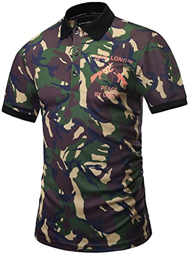 Pizoff Mens Boys Hipster Short Sleeve All Over 3D Camouflage Front Logo Print Button Down Breathable Slim Fit Polo-Shirt - Polo Co Jean