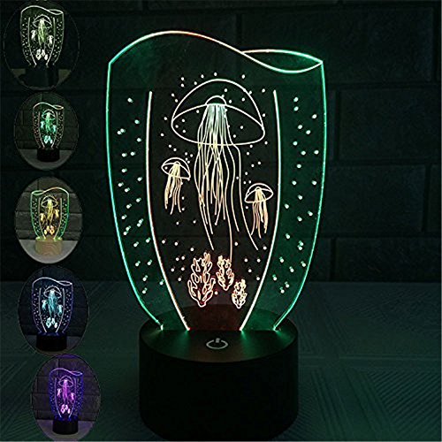 OWIKAR Jellyfish 3D Illusion Night Light Touch Button USB Powered 7 Color Changing Optical Acylic Table Lamp For Child Kid Birthday Holiday Party Atmosphere (Cash Drawer Caddy System)