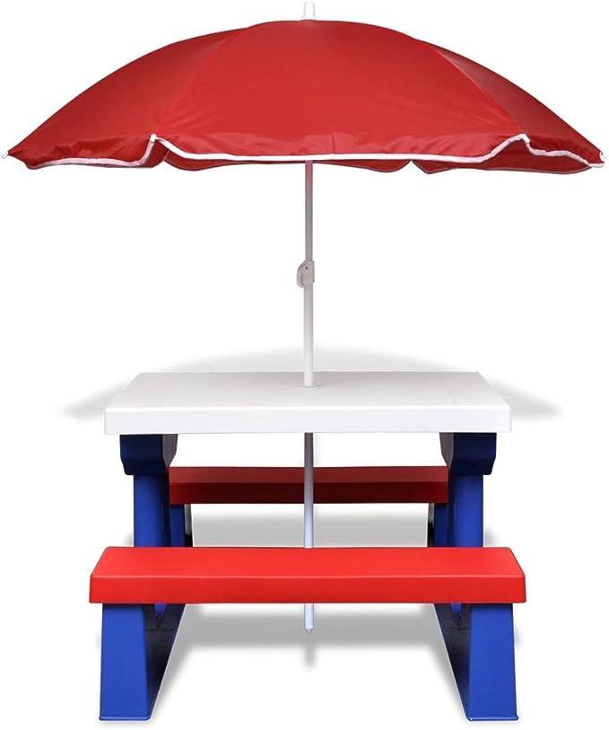 vidaXL Mesa de picnic para niños con sombrilla: Amazon.es: Jardín