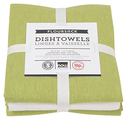 Now Designs Floursack Kitchen Towels, Set of Three, Cactus Green/White (Apron Tea Pattern)