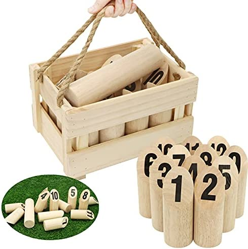 JOYIN Wooden Throwing Game Set Pin & Skittles Game 12-Wooden Numbered Skittles, Outdoor Yard Games for Kids, Teens, and Adult, Backyard Fun, Party Favor Game, Family Activity