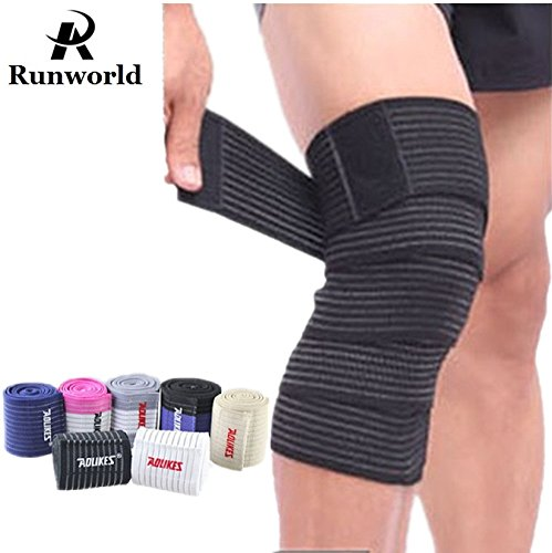 Runworld (1 Pair) Elastic Breathable Knee Brace Compression Bandage Wraps Pain Relief Straps Support Wraps Sleeve for Men Women Cross Training WODs,Gym Workout,Fitness & Powerlifting (Black)