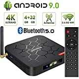 Android 9.0 TV Box, Pendoo X6 PRO Android TV Box 4GB RAM 32GB ROM, Dual-WiFi 2.4GHz/5GHz BT5.0 Quad Core 64 Bits 3D/4K Full HD/H.265/USB3.0 Android Box