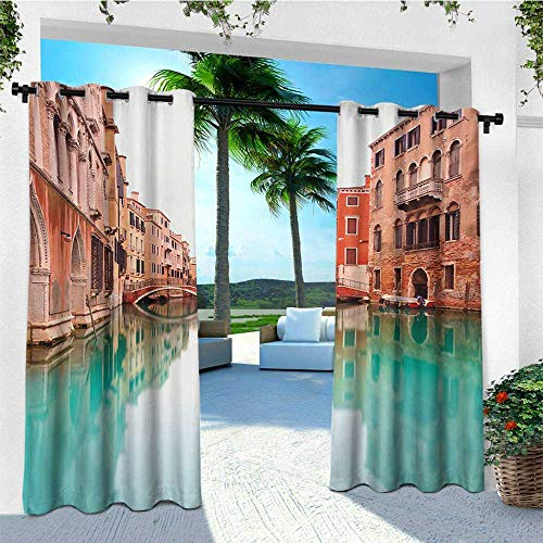 leinuoyi Venice, Outdoor Curtain Panel Design, Water Canal and Bridge Typical Venetian Architecture Buildings and a Boat, for Privacy W108 x L96 Inch Turquoise Cinnamon