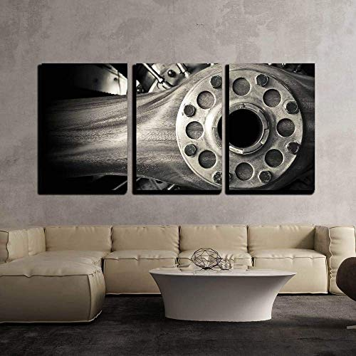 (wall26 - 3 Piece Canvas Wall Art - Wooden Aircraft Propeller and Engine Cylinders - Modern Home Decor Stretched and Framed Ready to Hang - 16