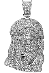 Platinum Plated Micro Pave Cubic Zirconia Iced Mens Religous Face Pendant (1.75 Inch Wide 3.00 Inch Long)
