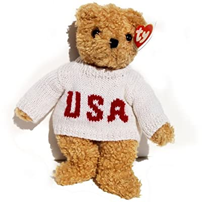 Ty Baby Curly Bear in Patriotic USA Sweater: Toys & Games