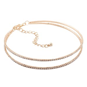 Fashion alloy choker double rows collar chain necklace