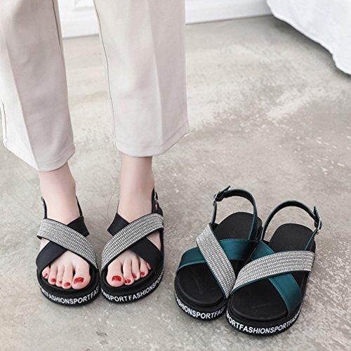 Plates Talon Epais Fond Forme Plate Chaussures Ouvert Orteil Vacances Strass Sandales Green De Décontracté Dames Eté Chaussures nYgzqEUz