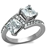 Gnzoe Jewelry, Womens Stainless Steel Wedding Ring White Double Zircon Anniversary Ring