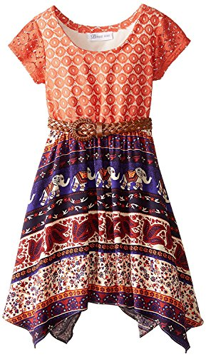 Bonnie Jean Big Girls Tween Lace To Tribal Print Chiffon Belted Skirt (10, Orange)