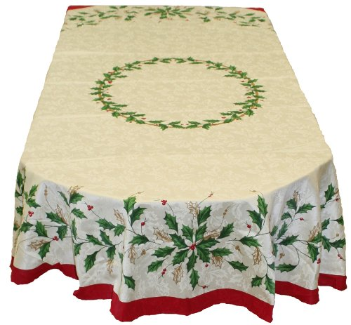 (Lenox Golden Holly 60-inch by 84-inch Oval Tablecloth)