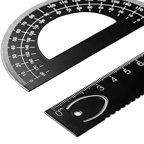 Leinuosen 6 Pieces Aluminum Triangular Architect Scale Ruler Set, 2 Pack 12 Inch Aluminum Scale Ruler with 4 Pieces Aluminum Triangle Ruler Square Set for Architects, Students, Draftsman and Engineers by Leinuosen (Image #2)