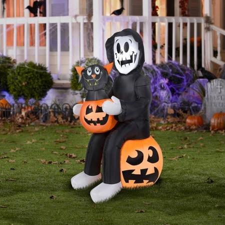 BLOSSOMZ 4.5' Tall Reaper's Pumpkin Surprise Scene Halloween Airblown Inflatable ()