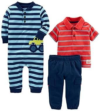 Simple Joys by Carter's Boys' 3-Piece Playwear Set, Blue/Red Car, 0-3 Months