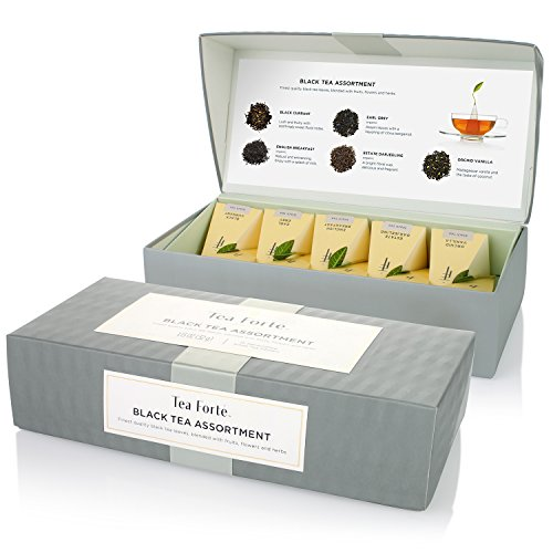 Tea Forté Petite Presentation Box Sampler with 10 Handcrafted Pyramid Tea Infusers - Black Tea Assortment