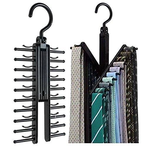 Hugesavings Tie Racks 2 Pcs Cross X Hangers Tie Belt Rack Organizer Hanger Non-Slip Clips Holder with 360 Degree Rotation