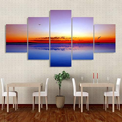 mmwin Modern HD Impreso Wall Art Pictures 5 Piece/Pcs Lake Rosy Sky Sunset Decoración para el hogar Cartel de Lienzo para Sala de Estar: Amazon.es: Hogar